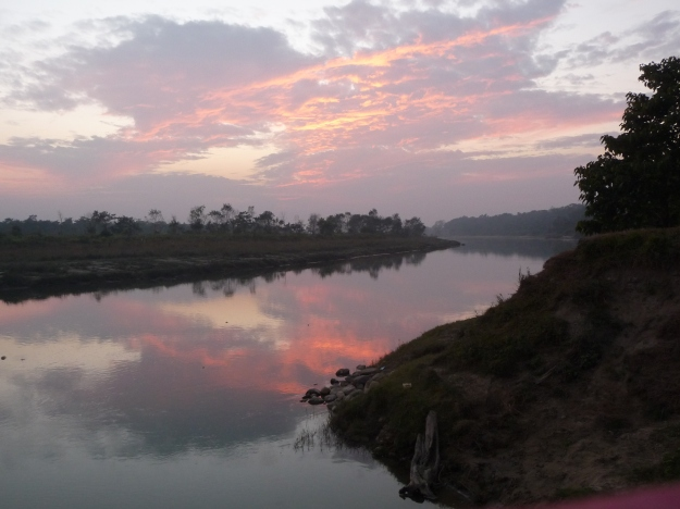 Sunset on the Rapti, Chitwan, Nepal.
