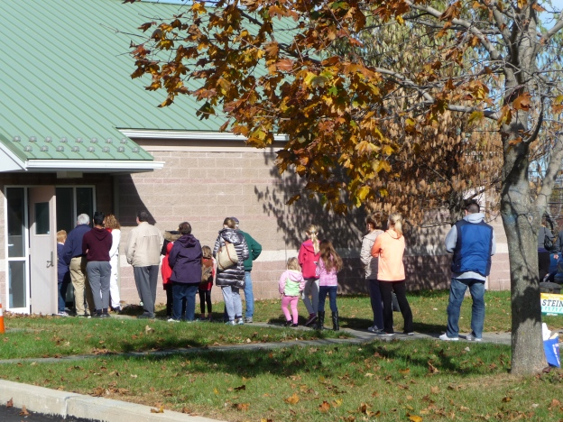 Voters lining up to vote in the Presidential election.