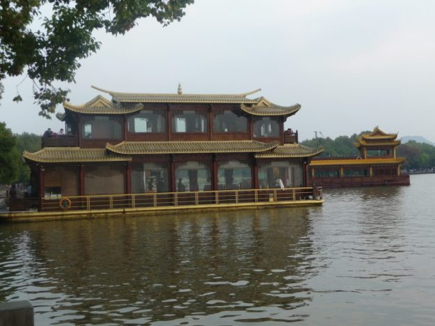 Our gilded houseboat on West Lake, Hangzhou