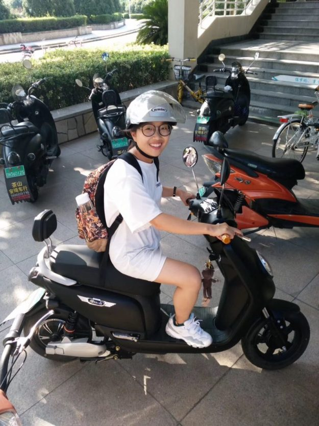 Mopeds and bicycles on campus, Wenzhou, China