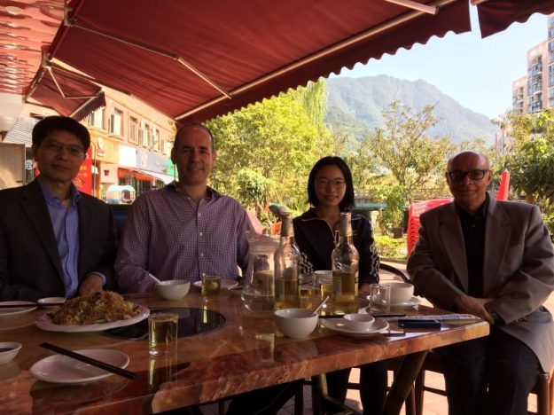 Lunch outdoors under an awning, Wenzhou