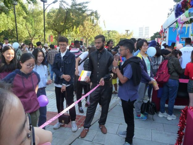 Indian students of Wenzhou University and the Limbo dance stall