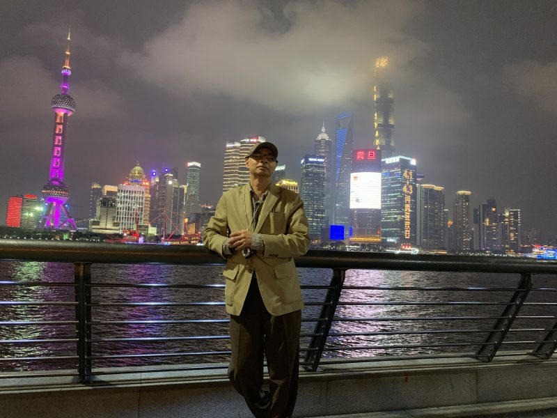 At the Huangpu river, Shanghai, Pudong as background