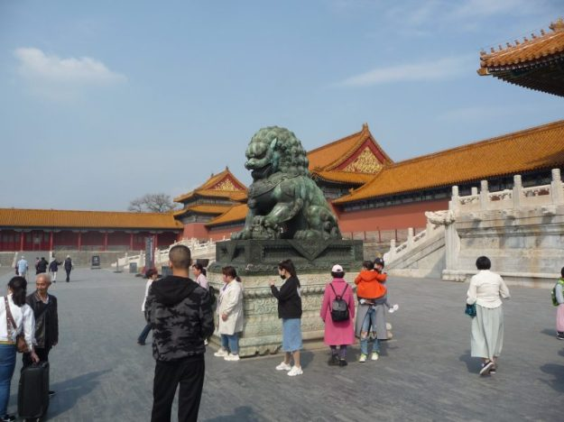 Statue of lioness with her cub, Forbidden City