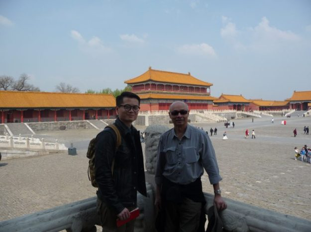 With my translator. Very few visitors near the side walls of the Forbidden City