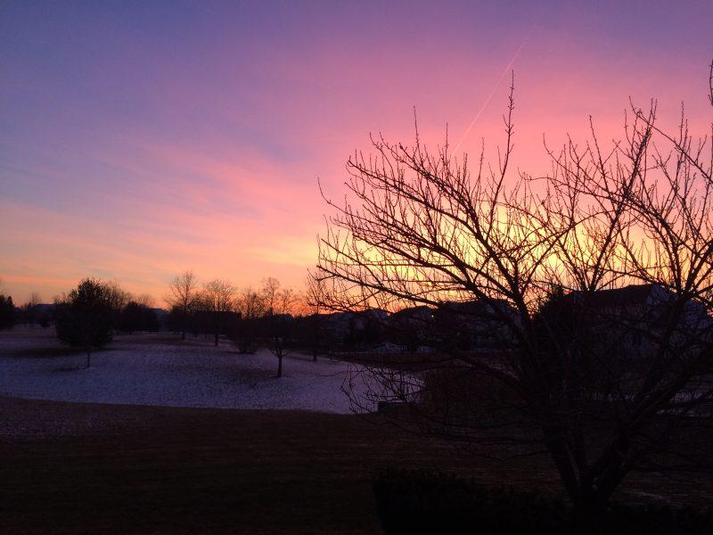 Winter sunset, Pennsylvania.