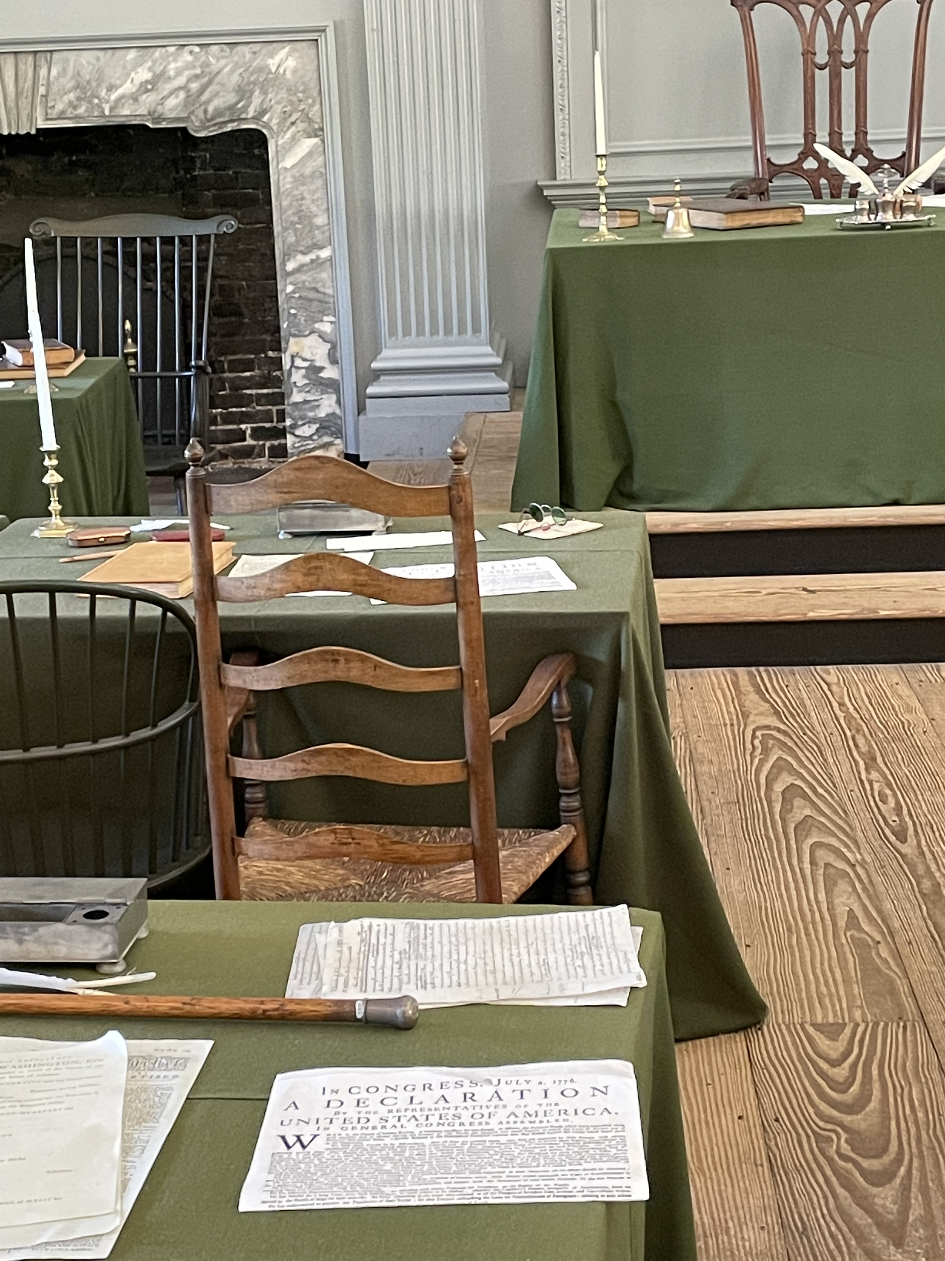 Close up of one table in the Assembly Room, Independence Hall, Philadelphia