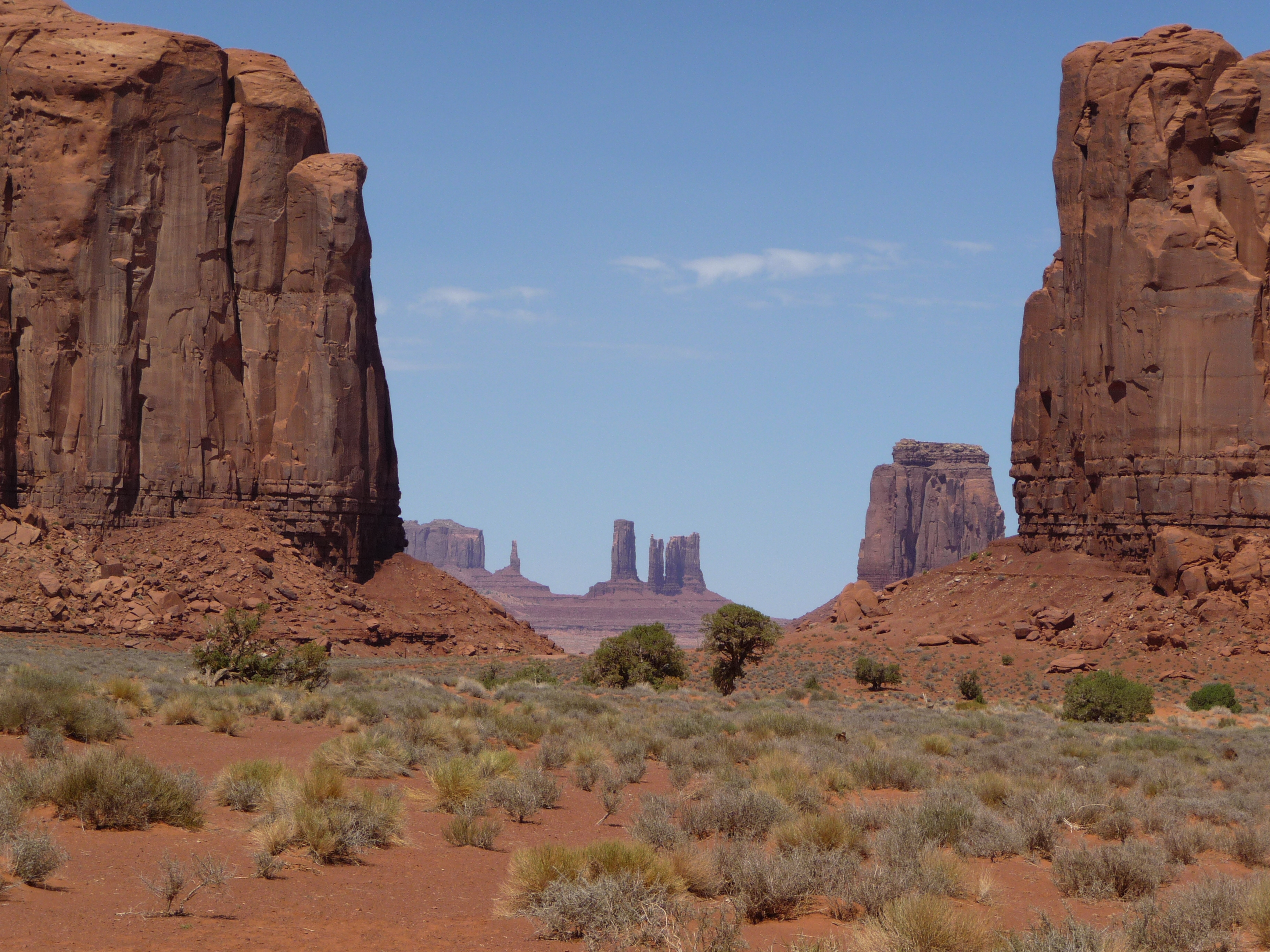 A picture of  spires and buttes in Monument Valley